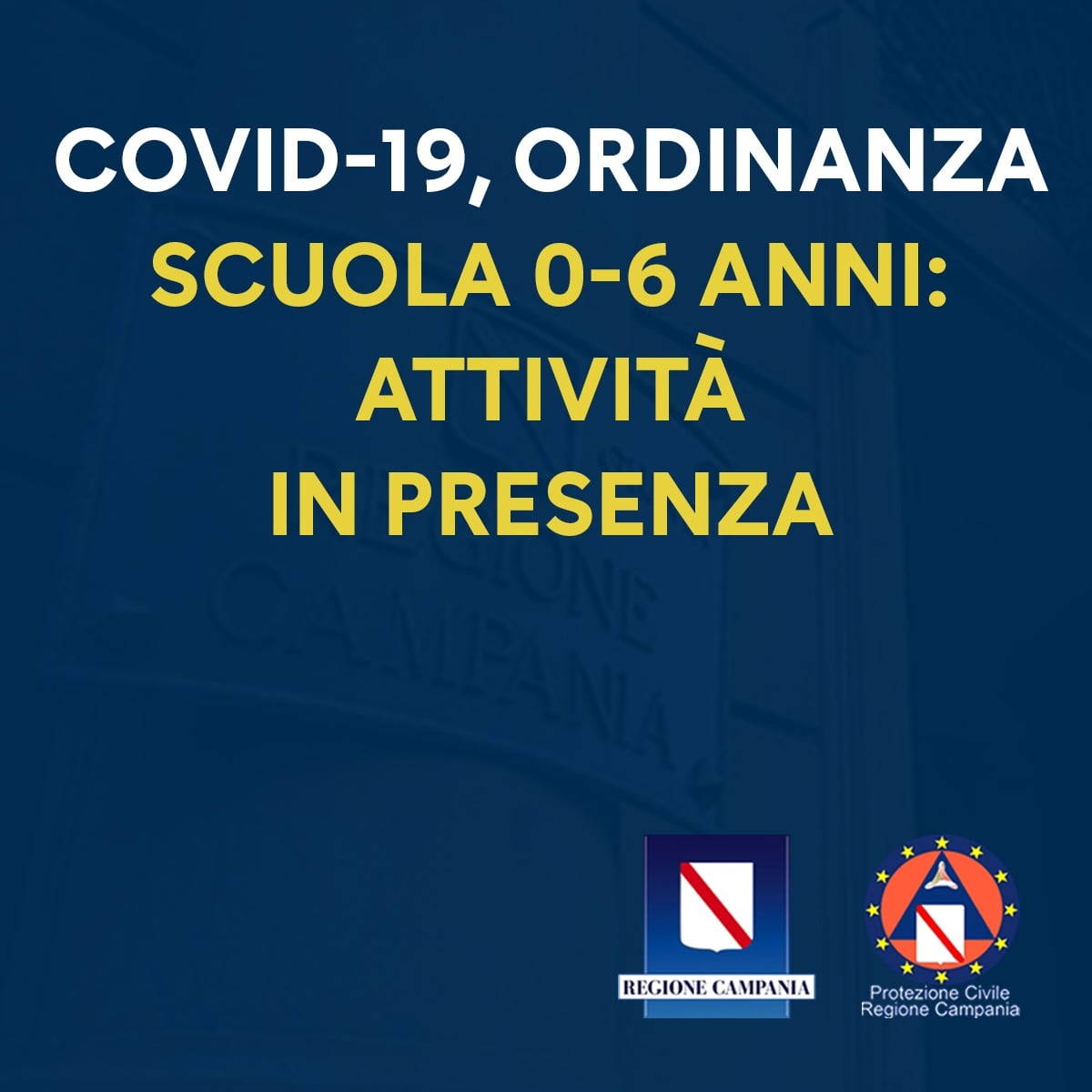 COVID-19, ORDINANZA n.80: CONSENTITA ATTIVITÀ IN PRESENZA SCUOLE 0-6 ANNI