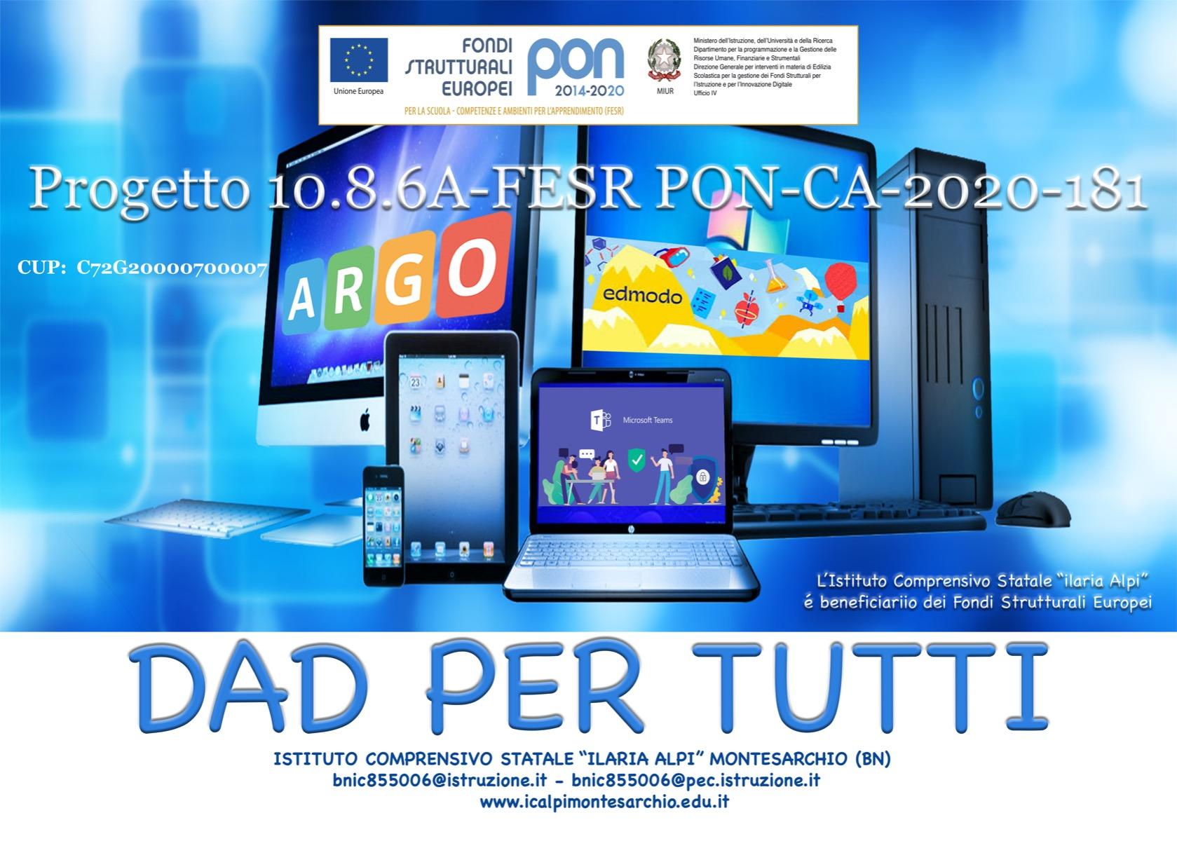 FESR 2020  - Progetto FESR autorizzato - DAD PE...